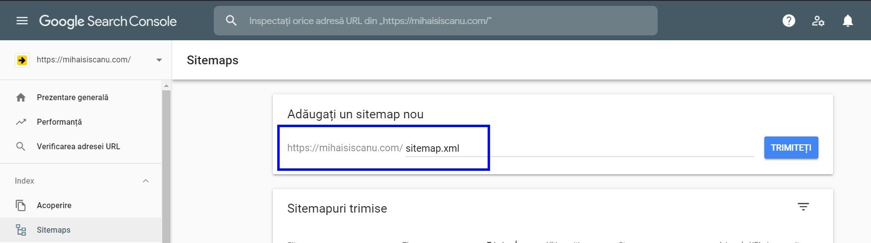 trimite sitemap la google